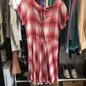 Red and pink flannel dress from Obey